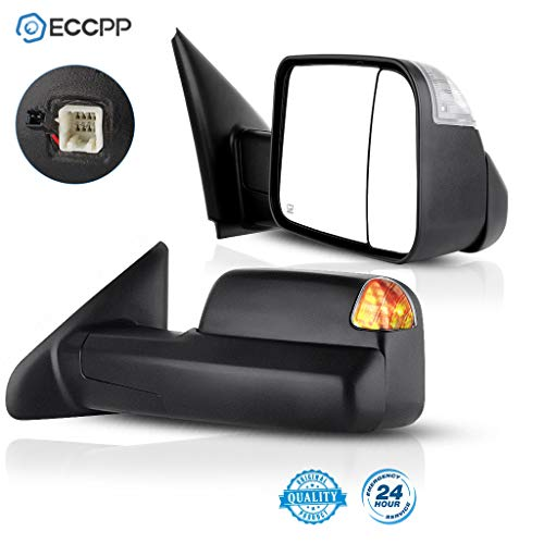 ECCPP Towing Mirrors Replacement fit for 2002-2008 Dodge Ram 1500 2500 3500 Power Heated Led Signal Lights Pair Mirrors