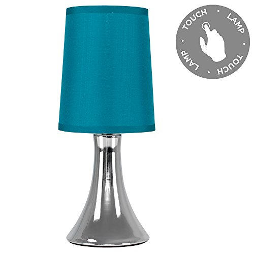 Small Modern Chrome Trumpet Touch Table Lamp with Turquoise Teal Fabric Shade