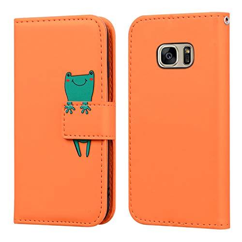 FMPC Funda Samsung Galaxy S7 con Tapa, Wallet Serie Cuero Carcasa con Libro Case, Cierre Magnético Función de Soporte Rana de Dibujos Animados en 3D, Naranja