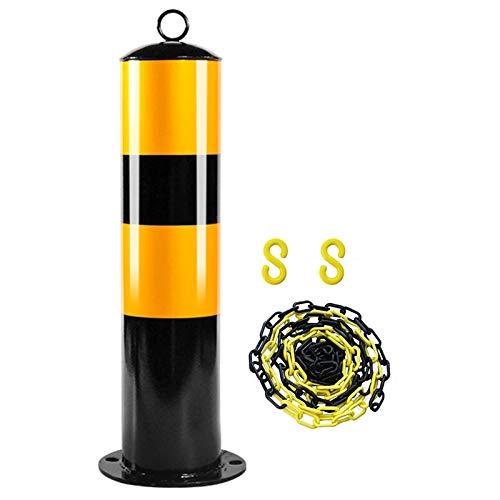 SYEA Parkpoller Beton Konkret In Privat Parkplatzschild Reflektierende Tape Security-Pfosten für Einfahrten Metallpoller mit Kunststoffkettensperre und S-Haken(Size:500mm×114mm)