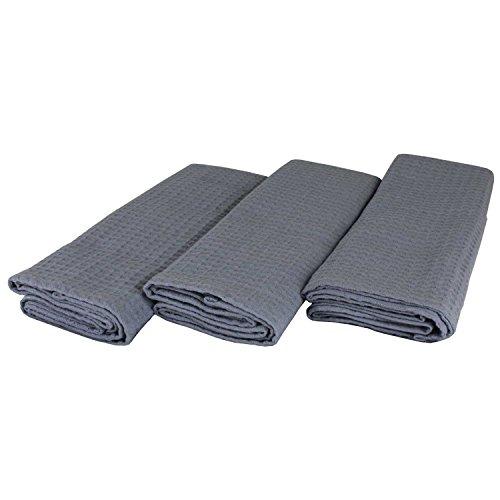 Set de 3 torchons 100% coton gaufré de pique dans Uni Gris/Gris Foncé. 50 x 70 cm Design Cuisine Serviettes. Lavable avec ourlet passe au sèche-linge et résistant. 4 faces,. Chiffon Sec