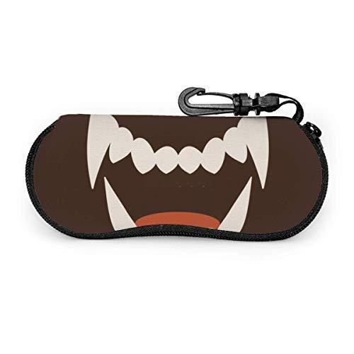 Funda Gafas Icono de dientes de colmillo blanco Neopreno Estuche Ligero con Cremallera Suave Gafas Almacenaje
