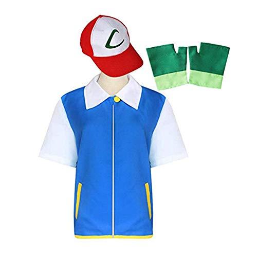 Disfraz Pokemon Ash Ketchum Niños Cosplay Costume con Sombrero y Guantes (140)