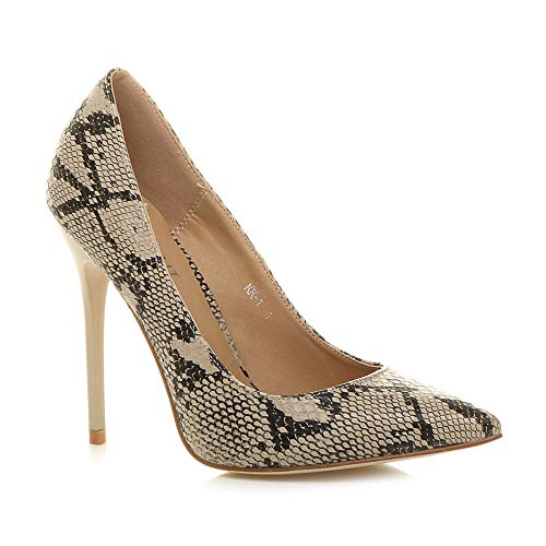 Ajvani Womens Ladies high Heel Pointed Court Smart Party Work Shoes Pumps Size, Beige Black Snake, 5 UK