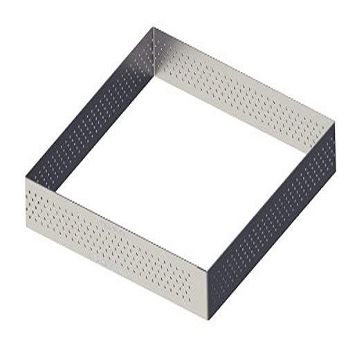 De Buyer - Cornice per torta quadrato perforato, bordo dritto, in acciaio inox 15 cm