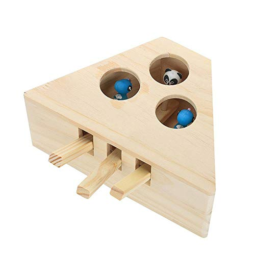 Avmy Pet Supplies Chat en Bois Catching Toy Box Cat Interactive Toy Scratch Board, 3 Trous
