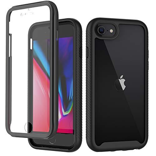 CENHUFO Cover iPhone 7/8 / 6S/6 /iPhone SE 2020, 360 gradi Rugged Custodia Cover iPhone 7/8 / 6S/6 /iPhone SE 2020,con Protezione dello Schermo Integrata,Antiurto Trasparente Case Armor Bumper,Nero