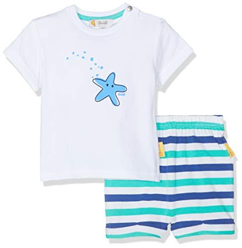 Steiff Baby-Jungen Set Shorts+T-Shirt Bekleidungsset, Weiß (Bright White 1000), 80