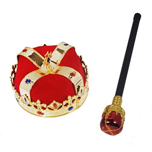 Descendants Couronne et Sceptre Adulte Roi Reine Médiévale Déguisement Halloween Carnaval Cosplay Nativité Accessoire Costume