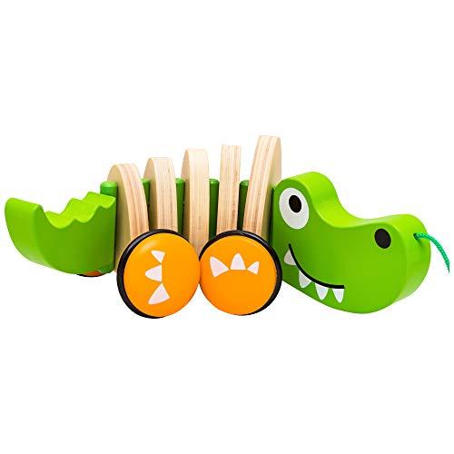 Natureich Kroko – Nachziehspielzeug aus Holz / Holztier Nachziehtier Krokodil für Kinder ab 36 Monate (Kroko)