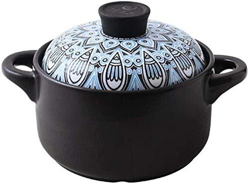 zyl Casserole Plats Casserole avec couvercles - Plat Noir Rond Casserole Pot en Argile Pot en Terre Casserole en céramique-Styleb_3.5L