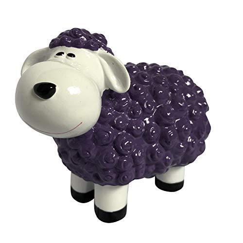 Gartenfigur lustiges Schaf - Deko für außen, Outdoor geeignet - Wetterfest (Lila)