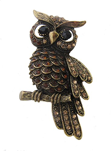 Brooch Boutique Antique Gold Amber Crystal Wise Owl Brooch / Mothers Day Gift