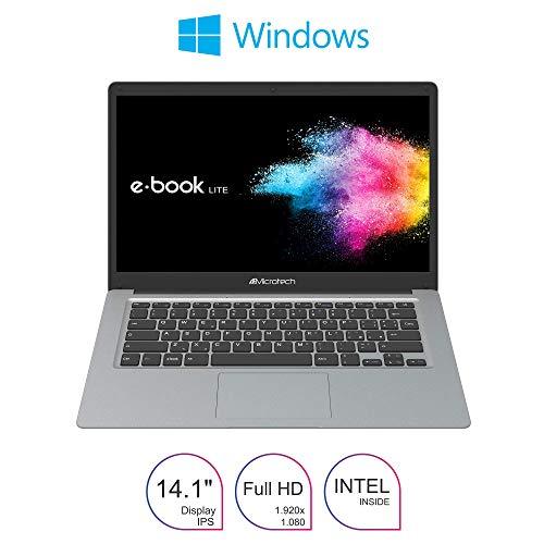 Notebook Microtech e-book Lite, Ultraleggero 1,2Kg, Cpu Intel dual Core N4000 2,6 GHz 64bit ,Display 14,1'Ips Full Hd, SSD 64GB , RAM 4Gb, Win 10 Home, Pronto All'uso,Layout e Gar.Italia