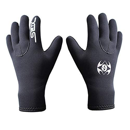 3MM Five Finger Neoprene Diving Wetsuit Gloves for Scuba-Diving,Boating,Snorkeling,Kayaking, Surfing and Other Water Sports (Black, S)