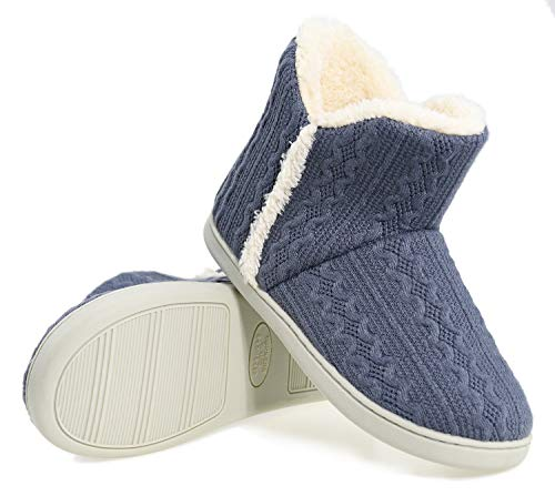 AONEGOLD Zapatillas de Casa para Mujer Hombre Antideslizante Pantufla Invierno Interior Suaves Peluche Caliente Pantuflas Botines De Punto para Interiores(Azul,Tamaño 38-39)