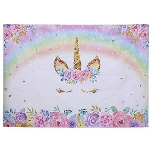 PRETYZOOM Fondo de unicornio para cumpleaños, fondo de tela, unicornio, fiesta, decoración de pared, para niños, cumpleaños, baby shower (210 x 150 cm)
