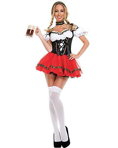 Abito Tradizionale da Donna in Dirndl - Costumi Mini per Oktoberfest - Tre Pezzi: Abito,Testa,...