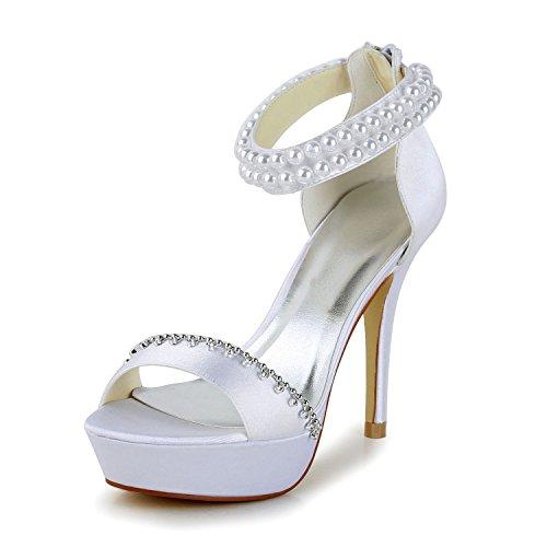 JIA JIA Scarpe da Sposa da Donna 1294 Peep Toe Tacchi Alti Sandali con Plateau in Raso Perla Scarpe da Sposa Colore Bianco, Taglia 38 EU