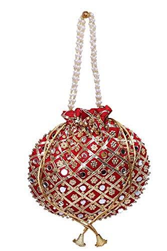 Tulika Collections Rajasthani Silk Traditional Mirror Work Clutch Potli Batwa Pouch Bag Handbag for Women/Girls (Red)