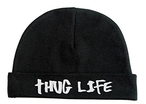 Lil Shirts Unisex Baby Thug Life Beanie (0-6, Black)