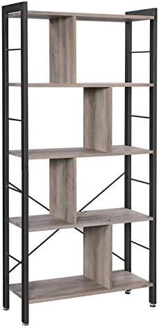 VASAGLE Bookshelf, Industrial Bookcase, Floor Standing Bookcase, Large 4-Tier Storage Rack in Living Room Office Study, Simple Assembly, Stable Steel Frame, Greige and Black LBC012B02