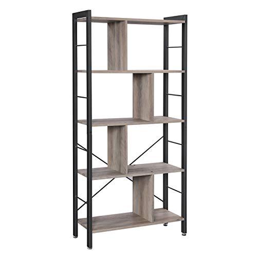 VASAGLE Bücherregal, Büroregal, Raumteiler mit 4 Ebenen, Standregal im Industrie-Design, Wohnzimmer, Büro, Arbeitszimmer, viel Stauplatz, groß, stabil, einfacher Aufbau, Greige-schwarz LBC012B02