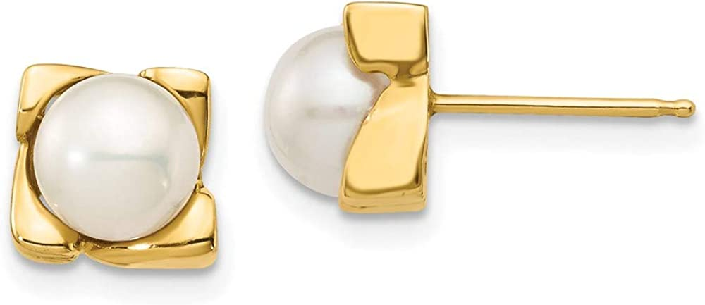 14k Yellow Gold 7mm White Button Freshwater Cultured Pearl Post Stud Earrings Ball Fine Jewelry For Women Gifts For Her