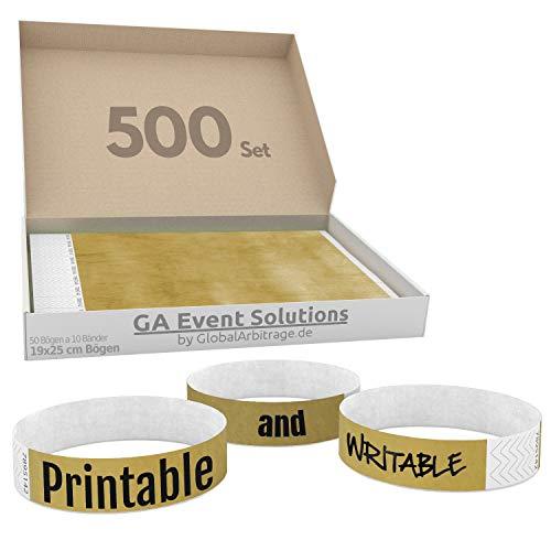 500 Eintrittsbänder aus Tyvek zum selbst gestalten und bedrucken in Gold von GA Event Solutions - Party Einlassbänder, Festival Armbänder für dein Event