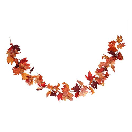 68inch Silk Maple String Garland Decor Artificial Maple Decor Fake Maple for Halloween Thanksgiving Party Christmas Hanging Decorations (Color : 68inch Garland C)
