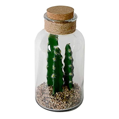 UNUS Home - Cactus artificial en jarrón de cristal con tapa de...