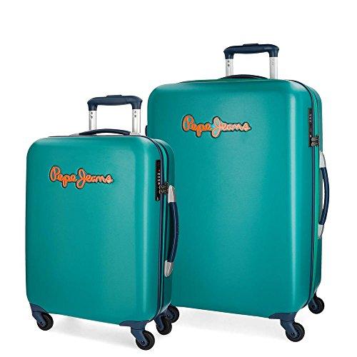 Pepe Jeans Bristol Juego de maletas Verde 55/67 cms Rígida Cierre TSA 101L 4 Ruedas Equipaje de Mano