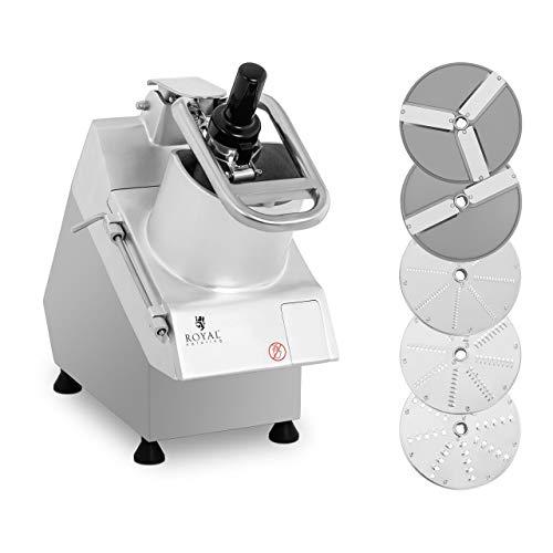 Royal Catering Robot Coupe-Légumes Électrique De Cuisine Culinaire Coupe Legume RCGS-750 (750 W, 280 tr/min, Deux Orifices, 5 Disques Ø 205 mm, Inox & Aluminium)