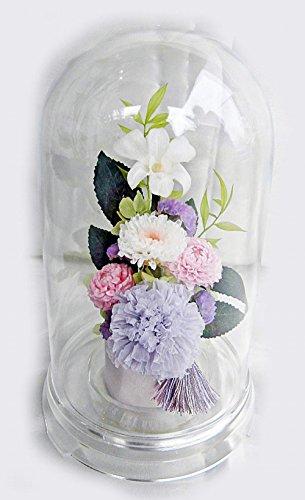 お仏壇 お供え ドーム入 仏花 祈り 淡桃あわもも デンファレと小菊のアレ ンジ 咲き続ける生花 プリザーブドフラワー