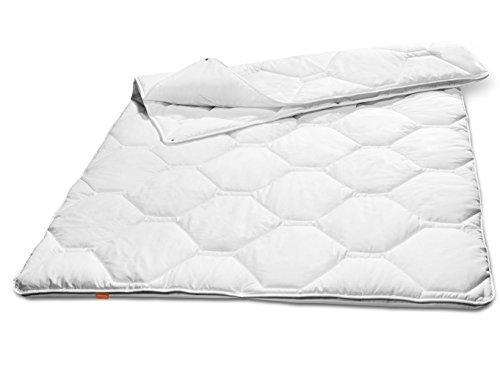 sleepling 190104 Komfort 360 Bettdecke Made in Germany Baumwolle Satin 4-Jahreszeiten 200 x 200 cm, weiß