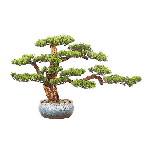 Bonsai Pflanze Faux Bonsai-Baum-Zimmerpflanze, Kiefer-Bonsai-Pflanze Keramik Rundtopf, Kieselsteine, die for Wohn- Wohnzimmer-Eingangsbüro Hoteldekoration verwendet werden Simulation Bonsai