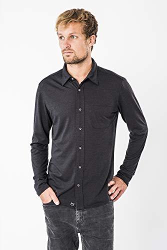 super.natural Herren Langarm-Polo-Hemd, Mit Merinowolle, M VOYAGE SHIRT, Größe: M, Farbe: Schwarz meliert