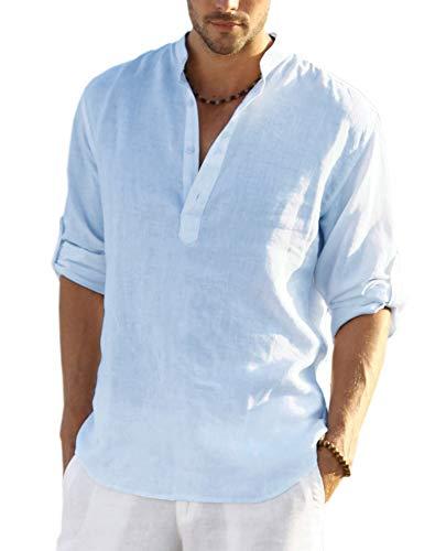COOFANDY Men's Cotton Linen Henley Shirt Long Sleeve Hippie Casual Beach T Shirts (Large, Blue-001)