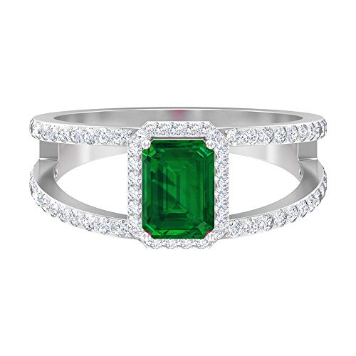 Rosec Jewels 14 quilates oro blanco round-brilliant-shape Octagone H-I Green Diamond Emerald