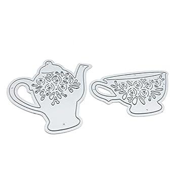 Yajom Teacup Teapot Metal Cutting Dies for Card Making Die Cuts Metal Cutting Dies Embossing Dies for Scrapbooking DIY Album Paper Cards Art Craft Decoration