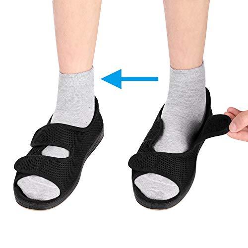 ITODA - Zapatillas para mujer con diabéticos, ortopédicas de viscoelástica, punta abierta, ajustable, antideslizante, cómodo para pies hinchados, artritis y edema