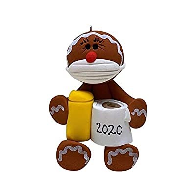 Rexinte Christmas Ornaments 2020 Personalized_Survived Animal Ornaments Wearing_Masks Holding Toilet Paper, Tree Hanging Ornaments Creative Gifts Home Decor Holiday Decorations (Gingerbread Man)