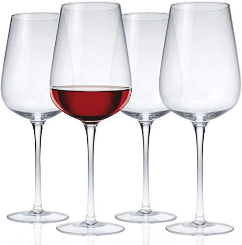 Lawei 4-teiliges Weißweinglas Kristallglas Weingläser Weinbecher Bleifrei Bordeauxgläser Weinbecher für Party Hochzeit Camping - 550ml