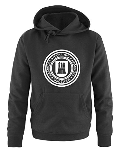 Comedy Shirts - Stadtwappen Hamburg - Herren Hoodie - Schwarz / Weiss Gr. XL