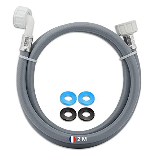 ELECTROO Tuyau alimentation machine a laver 2M-Flexible arrivee d'eau froide lave vaisselle & lave linge-Tuyau rallonge universel + 4 joints caoutchouc fournis-Équipement qualité professionnel