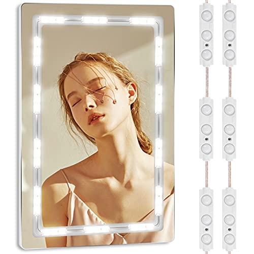 Viugreum Luces LED de Espejo,Luces de camerino,DIY Lámpara para Espejo de maquillaje, Luces Modulos Para espejo,armario,estantería,tocador,60 Bombillas LED 🔥