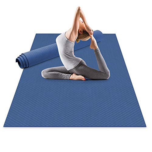 Odoland Large Exercise Mat 72'' x 48'' (6'x4') x6mm for Pilates Stretching Workout Mats for Home Gym Flooring, Extra Thick Non Slip Eco Friendly Yoga Mat with Carry Strap, Blue