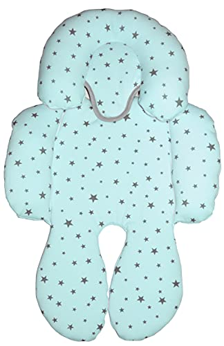 BEYBI® Reductor bebé punto algodón universal para capazo, silla coche grupo 0, silla de paseo y cuna (Menta Estrellita gris)