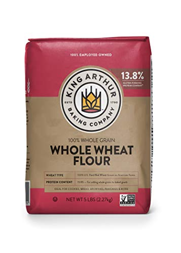 King Arthur, 100% Whole Wheat Flour, 100% Whole Grain, Non-GMO Project Verified, Certified Kosher, 5 Pounds