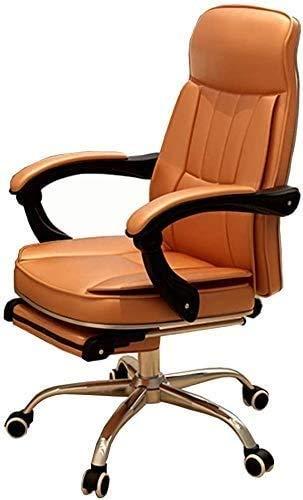 Elegante silla oficina, silla giratoria Silla de oficina ergonómica con reposapiés | Silla de escritorio reclinable de 135 ° | Recorte de metal / estable y duradero | Silla de computadora de rotación